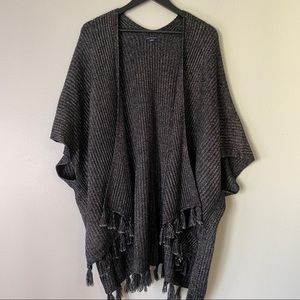 AEO Outfitters Ribbed Knit Poncho with Tassels